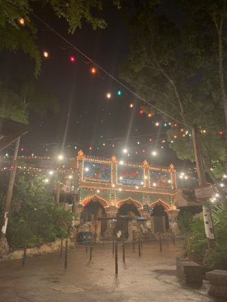 A shot of the Up! attraction at Disney's Animal Kingdom. It is night and there are multi-colored string lights handing above. It is empty of crowds.