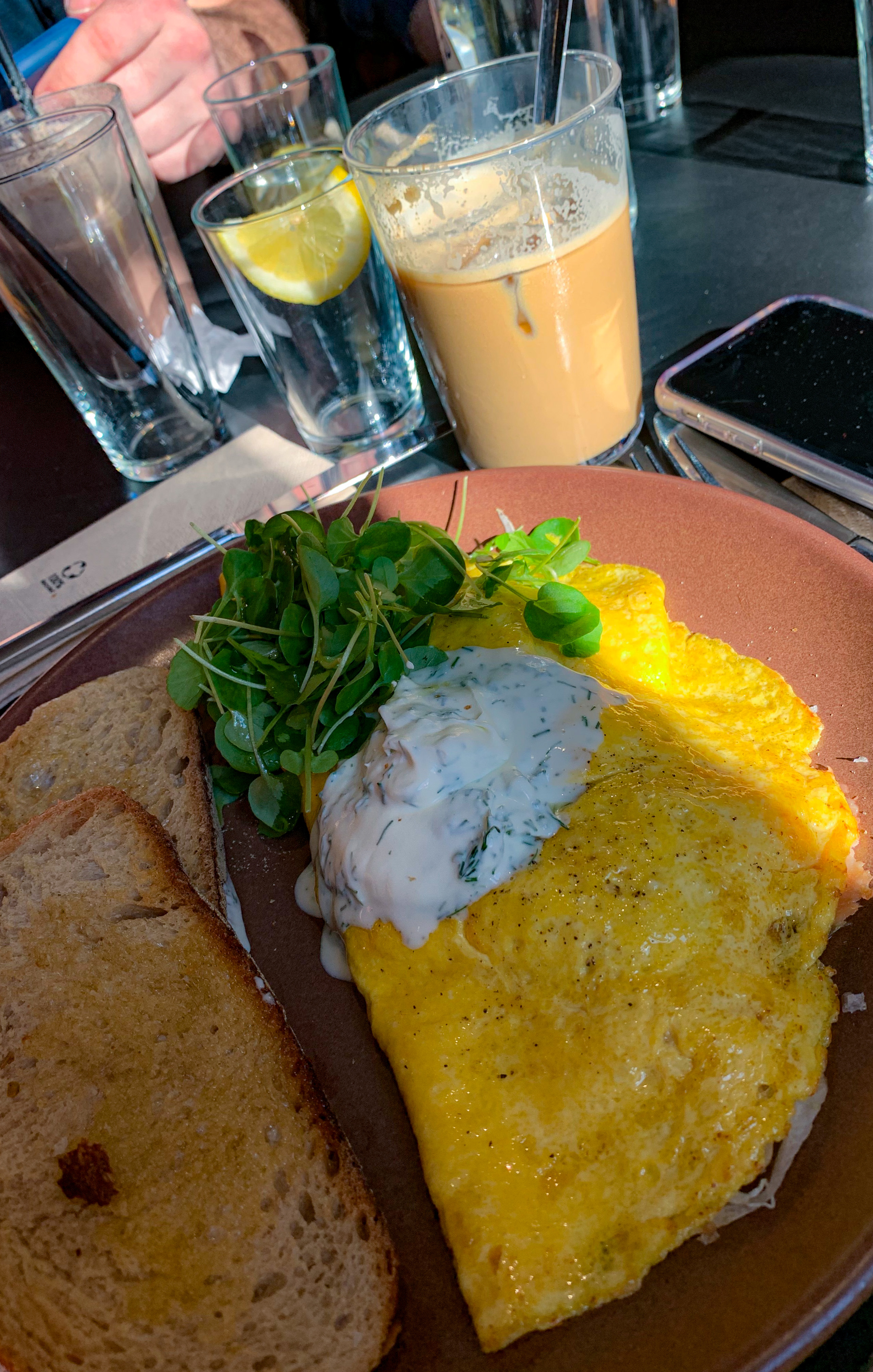 A clay colored plate with two slices of wheat toast on the left and on the right an omelette topped with a handful of greens and a dollop of sour cream. A glass of iced coffee and milk stands behind it.