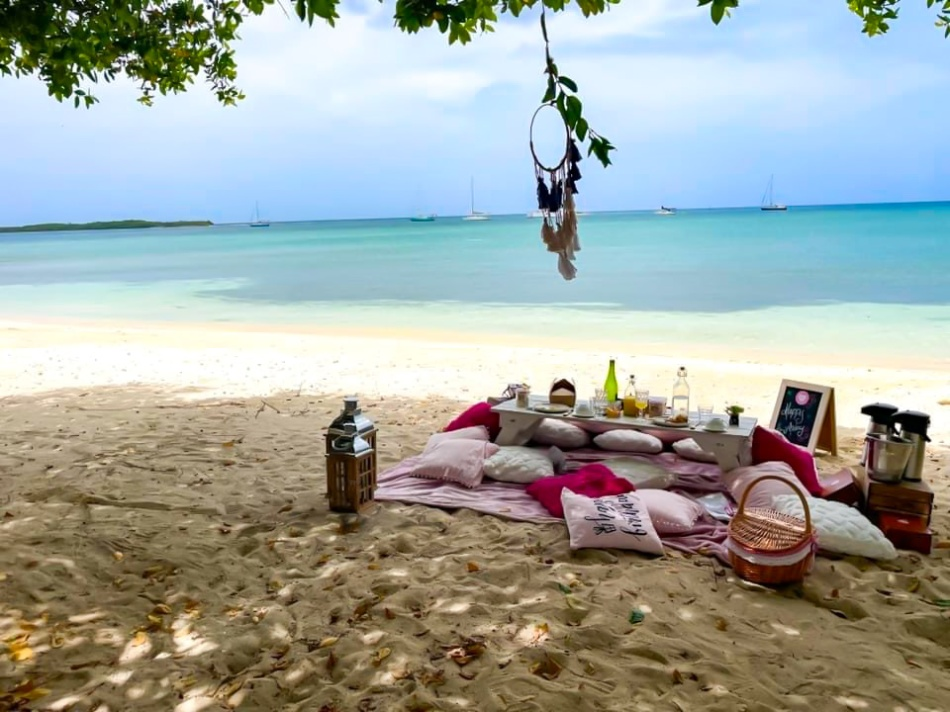 A tree casts shadow over the sand, the water is blue in the background. A dream catcher hangs from the three, on the sand to the right is a pink sheet and various pink pillows, on the left are two lanterns, on the right a picnic basket with cannisters of coffee and tea and a sign. In the center a white table of several bottles and containers