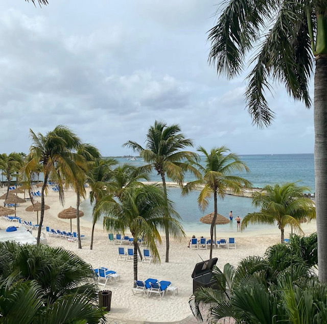 High view of a small sandy beach covered in blue lounge chairs, in front of the chairs is a small blue lagoon surrounded by palm trees